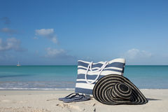 Striped blue beach items Royalty Free Stock Photography