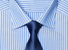 Striped blue shirt with tie. Striped male blue shirt with tie Stock Photos
