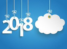 Striped Blue Sky 2018 Cloud Sticker. Hanging numbers 2018 and cloud sticker on the blue striped background Royalty Free Stock Photos