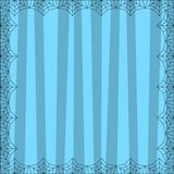 Striped blue square background with cute vertical stripes framed with spider cobweb. Vector background, flyer, Halloween invitation or greeting card template vector illustration
