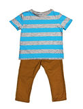 Striped blue t-shirt and mustard jeans Stock Photos
