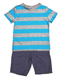 Striped blue t-shirt and shorts Royalty Free Stock Photography