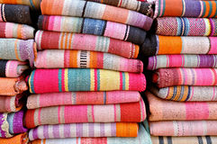 Striped Bolivian Blankets Stock Photos