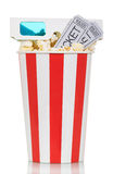 Striped box of popcorn with movie tickets and glasses isolated on white. Background Stock Photos