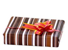 Striped box with ribbon Stock Photo