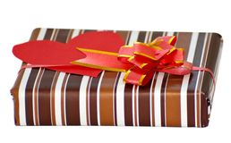 Striped box with ribbon Royalty Free Stock Photography