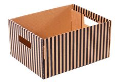 Striped box on a white background Royalty Free Stock Photo