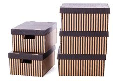 Striped boxes on a white background Royalty Free Stock Images