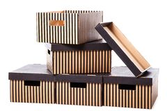 Striped boxes on a white background Royalty Free Stock Photography