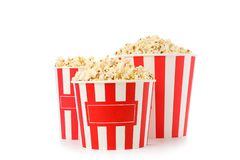 Striped buckets with popcorn isolated