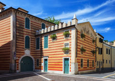 Striped building in Bardolino Stock Photography