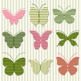 Striped butterfly. Nine striped butterfly on striped background Stock Photos