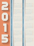 Striped 2015 calendar with shadows Royalty Free Stock Images