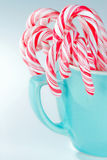 Striped candy canes in a light blue cup Stock Image