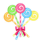 Striped candy lollipops. Isolated on a white background Stock Photos