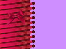 Striped card with a bow and ribbons Royalty Free Stock Photo