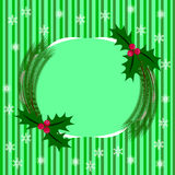Striped card for Christmas with holly berries Stock Photo
