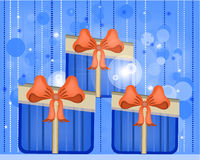 Striped card with dotted, red gifts with blue bow Royalty Free Stock Photo