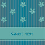 Striped card with flowers Royalty Free Stock Photos