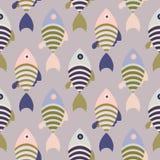 Striped cartoon fish seamless vector pattern. Ocean life print repeat pattern background Stock Photo