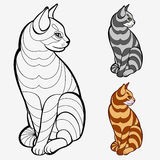 Striped cat. Coloring book pages for kids and adults.(striped cat Stock Images