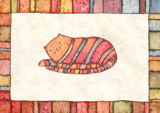Striped cat, watercolor Royalty Free Stock Photos