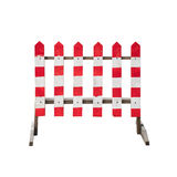 Striped caution red white wooden fence isolated Royalty Free Stock Image