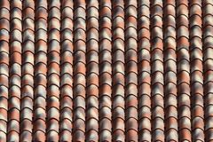 Striped ceramic tile roof close up. background horizontal Stock Photography