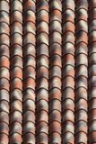 Striped ceramic tile roof close up. background vertical Royalty Free Stock Photo
