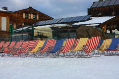 Striped chairs. Red, blue and yellow striped chairs Royalty Free Stock Image