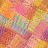 Striped and checkered diagonal colorful seamless pattern Royalty Free Stock Images