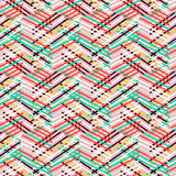 Striped chevron vintage pattern. Vector geometric seamless pattern with lines and zigzags in bright mint, red, pink colors. Striped modern bold print in 1980s royalty free illustration