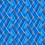 Striped chevron vintage pattern. Vector seamless geometric pattern with striped triangles, abstract diagonal shapes in bright blue color. Hand drawn background Royalty Free Stock Image