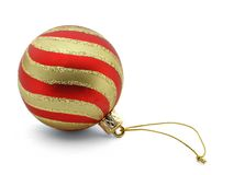 Striped christmas ball. Isolated on white background stock photos