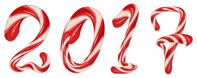 Striped christmas candy 2017. New Year Stock Photos