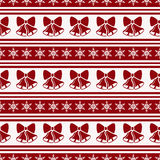 Striped christmas pattern with bells. Vector seamless background Stock Photos