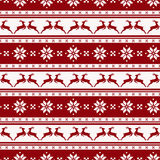 Striped christmas pattern with deers. Vector seamless background Stock Image