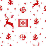 Striped Christmas pattern. Seamless striped red Christmas pattern knitted reindeer, trees and snowflakes Scandinavian style Vector Illustration