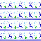 Striped Christmas pattern. Seamless striped red Christmas pattern knitted reindeer, trees and snowflakes Scandinavian style Stock Illustration