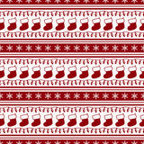 Striped christmas pattern. Vector seamless background. Merry Christmas and Happy New Year! Striped background with socks, garlands and snowflakes. Seamless Royalty Free Stock Image