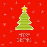 Striped Christmas tree with snowflakes. Merry Chri Stock Photo