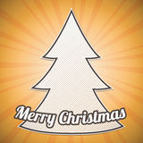 Striped Christmas tree on sunburst background Royalty Free Stock Images