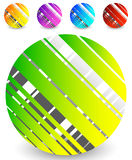 Striped circle icon in 5 colors – Textured circle with lines Stock Photos