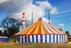 Striped circus tent. White red blue yellow Stock Photos
