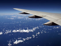 Striped Cloud pattern with Airplane wing Royalty Free Stock Photography