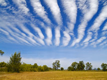 Striped clouds over the cleaned wheaten field Royalty Free Stock Image