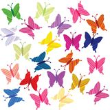 Striped colored butterflies. Over white background royalty free illustration