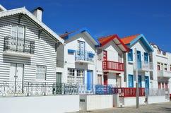 Striped colored houses, Costa Nova, Beira Litoral, Portugal, Eur. Costa Nova, Aveiro. Famous resort on the Atlantic coast in Beira Litoral, Portugal. Popular Royalty Free Stock Image