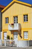 Striped colored houses, Costa Nova, Beira Litoral, Portugal, Eur. Costa Nova, Aveiro. Famous resort on the Atlantic coast in Beira Litoral, Portugal. Popular Royalty Free Stock Photos