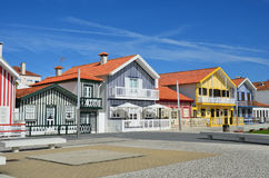 Striped colored houses, Costa Nova, Beira Litoral, Portugal, Eur Stock Photo